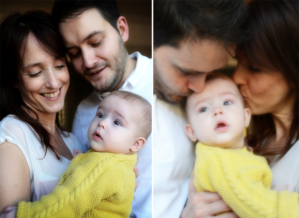 Mother and father kissing their sweet little baby girl in these two adorable baby portraits taken in Dulwich by a London portrait photographer