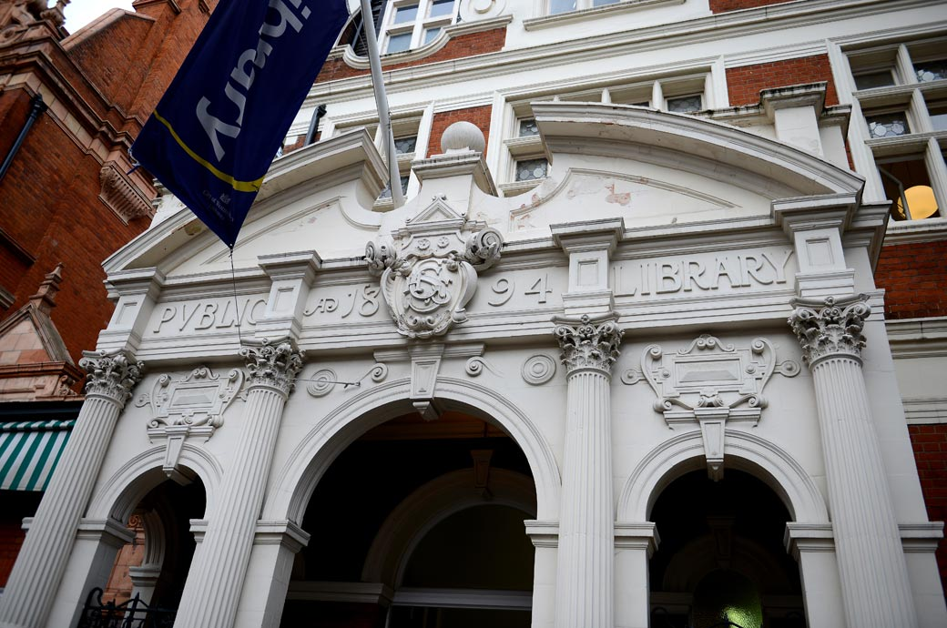 The beautiful white marble exterior of Mayfair Library the lovely stand in London wedding venue during the refurbishment of Westminster Register Office