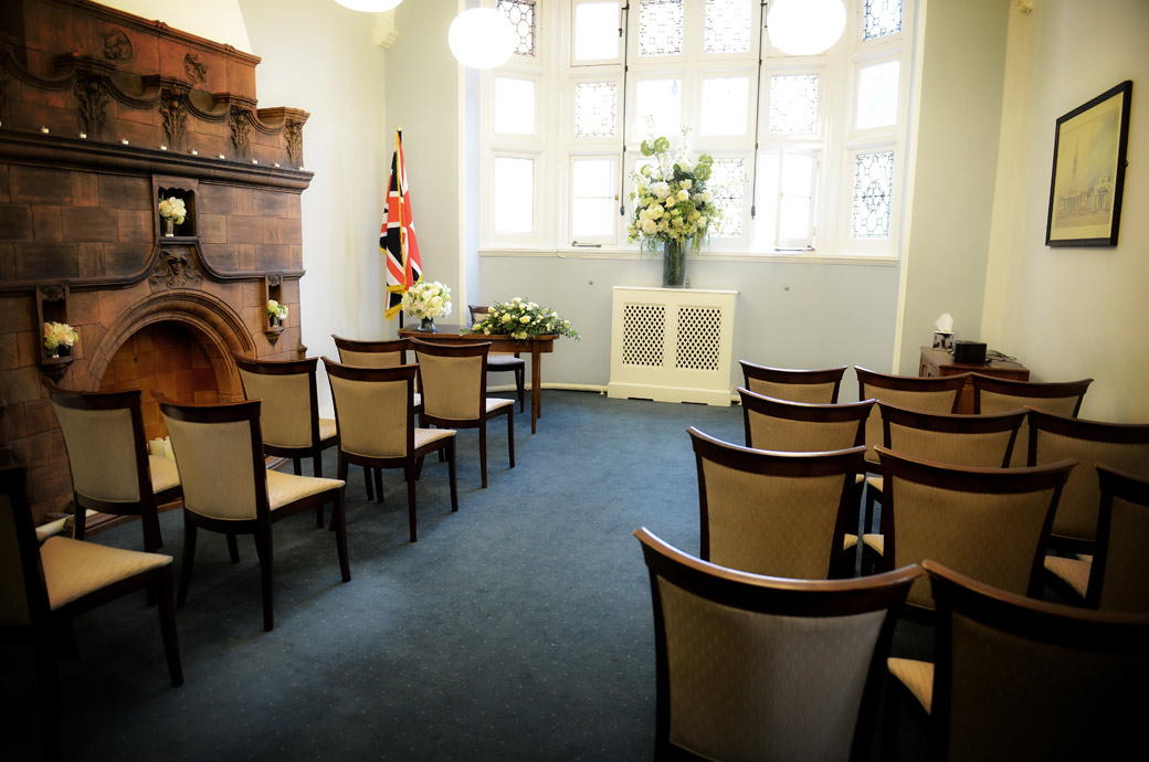 Wedding photograph of the tranquil and romantic setting of the intimate Marylebone Room at the London wedding venue of Mayfair Library