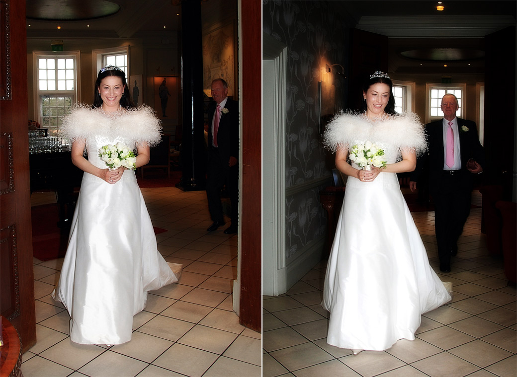 The beaming Bride quickly followed by her father in these two wedding photos taken as they leave for a local church wedding after getting ready at London wedding venue Cannizaro House
