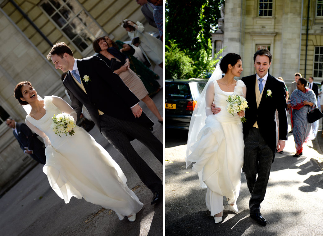 Couple of happy reportage wedding pictures taken as the newly-weds walk from the Little Brompton Oratory to the London Brompton Oratory