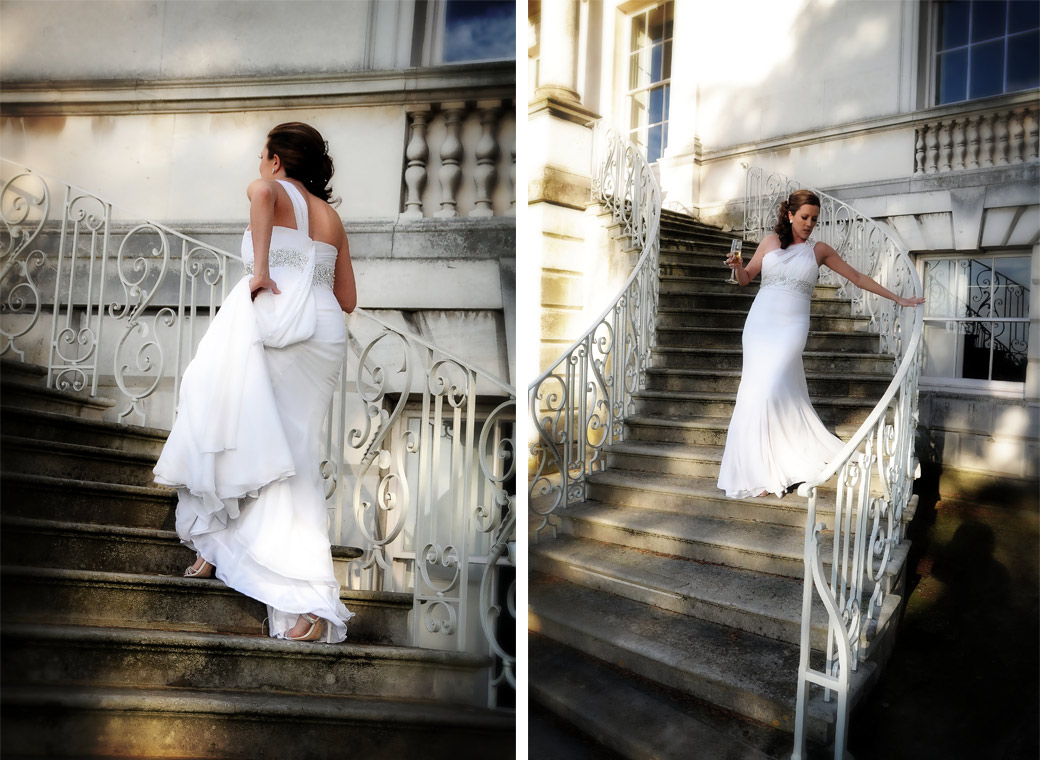 Beautiful Bride ascending and descending the sweeping stone staircase wedding photographs captured by London Lane wedding photography at Parkstead House