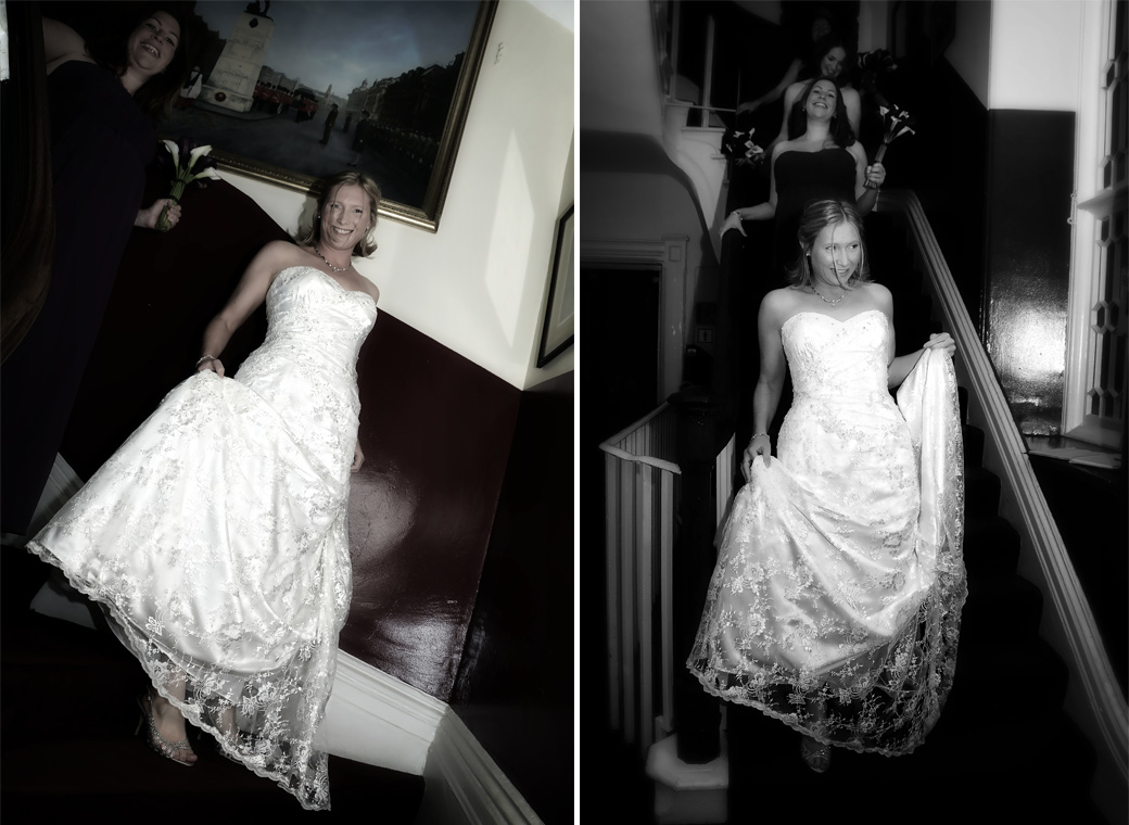 Two lovely excited Bride descending the stairs wedding pictures taken in the Armouries Building in the unique and fabulous London wedding venue at the Tower of London