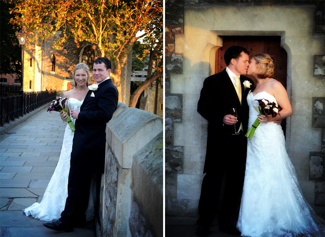 A smile and a kiss in these sunset wedding photographs taken of the Bride and Groom as they walk along the South Wall at the spectacular and unique Tower of London