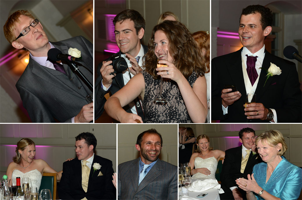 Wedding photo collage of speakers and guests taken during the wedding speeches at the unique London wedding venue The Tower of London in the New Armouries banqueting suite